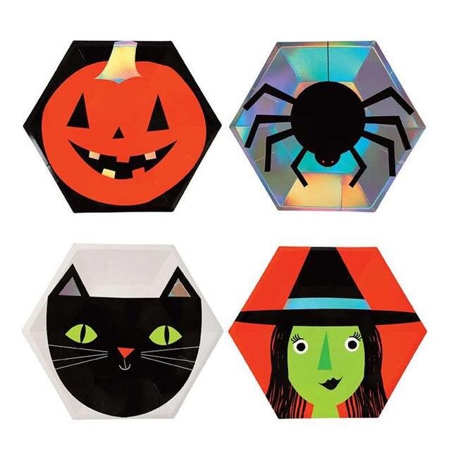 Halloween Thema.Us 3 74 21 Off Halloween Thema Wegwerp Papieren Borden Spider Zwarte Kat Pompoen Patroon Servies Hallowmas Party Carnaval Servies Levert In