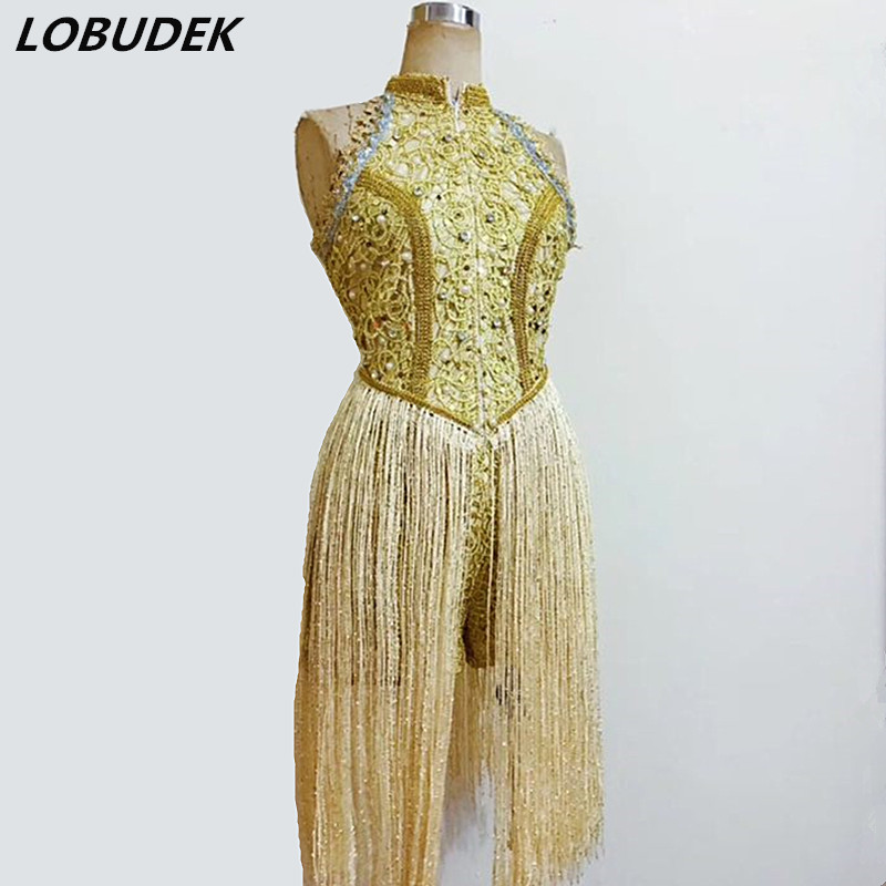 Customized High Quality Women Gold Tassels Bodysuit Sexy Leotard Pearls Jumpsuits Star Dancer Concert Stage Costume Bar Clothing
