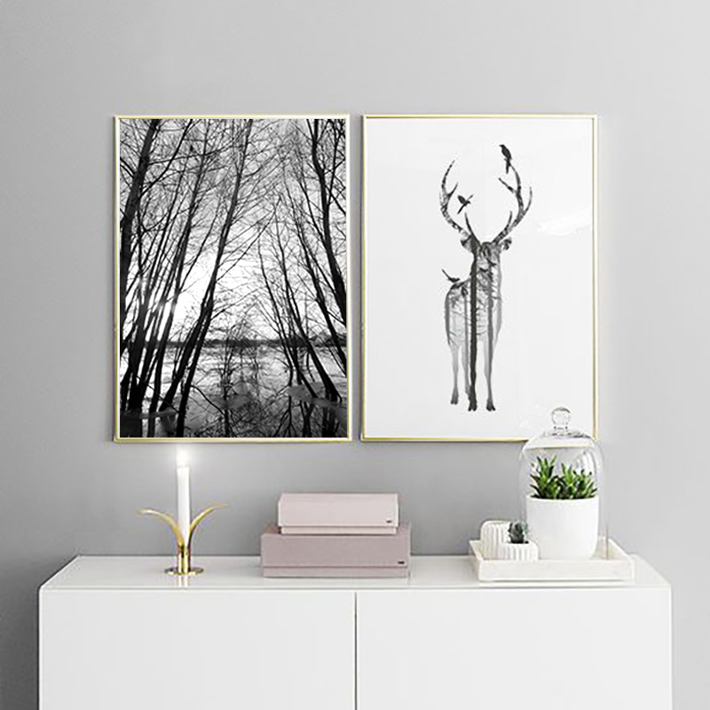 Nordic Style Forest Canvas Art Print Painting Poster, Deer