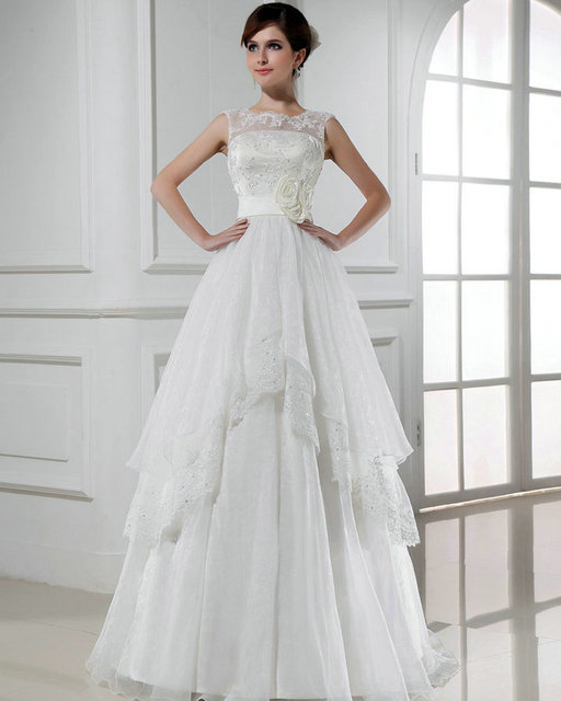 REAL MODEL Bride Wedding Dresses Cheap 2016 Sleeveless Open Back Gowns No Train Sexy Ivory Organza Lace