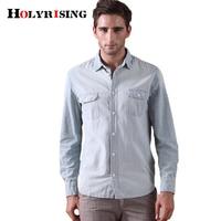 Holyrising Men Shirt Cowboy Vintage Camisa Masculina Blouse 100% Cotton Casual Dress Loose Light Blue Shirts For Men 18323 5