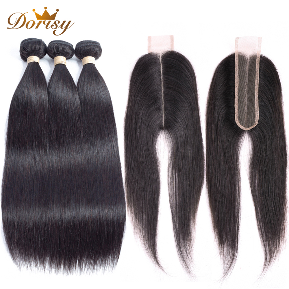 2 6 Lace Closure With Bundles Straight Human Hair 3 Pcs Brazilian Hair Bundles With Closure
