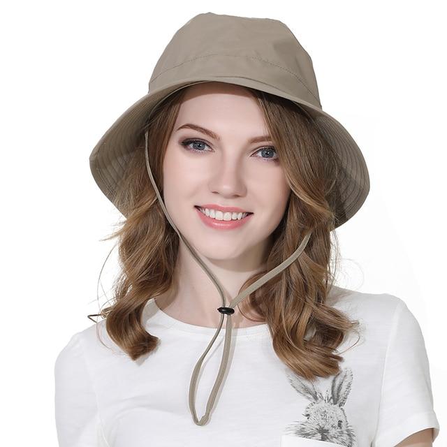 قبعة واقية من الأشعة فوق البنفسجية صيفية للسيدات بيضاوية من Outfly قبعة دلو بلون سادة من البوليستر قبعة للسفر في الهواء الطلق سريعة الجفاف