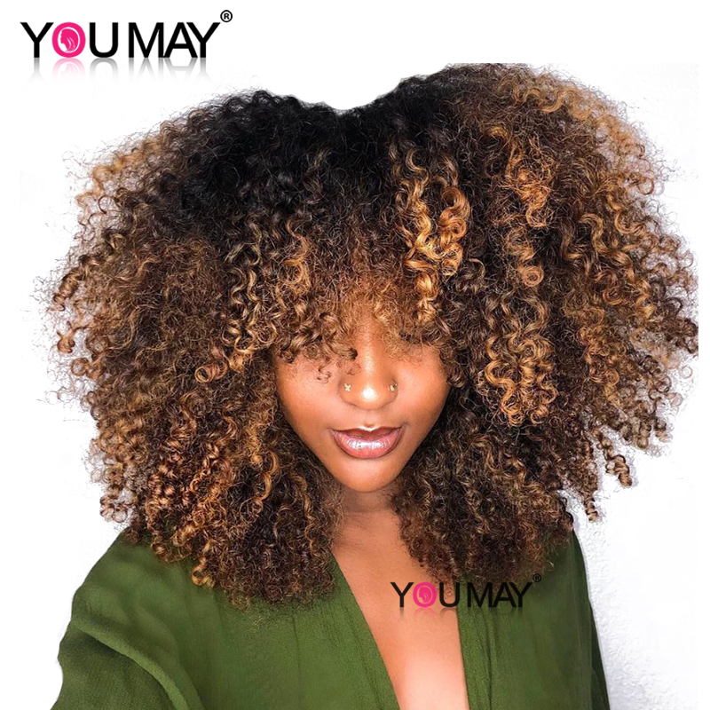 180 Short Human Hair Wig Ombre Blonde Kinky Curly Closure Wig For Women 1b 4 27