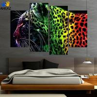 4pieces Free Shipping Printed Oil Painting Home Decoration Wall Art Decoration Chinese Leopard Painting Good Quality