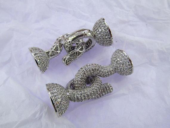 Plus grand 2 ensembles Jumbo Micro Pave CZ homard fermoirs, pavé fermoirs, bijoux fins fermoirs, pavé multi-brin bricolage 4