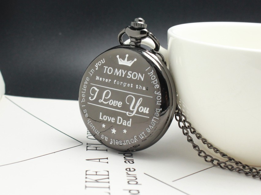 Customized To My Son Quartz Pocket Watch Vintage Roman Numeral Display Pendant Clock Birthday Gifts For Boys Dropshipping