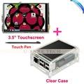 """3.5 """"LCD TFT Сенсорный Экран со Стилусом для Raspberry Pi 2 Pi 3 + Акриловый прозрачный Чехол Бесплатная Доставка"""