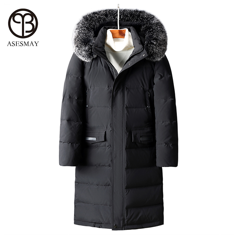 Asesmay 2017 men winter jacket white duck down parka high quality x-long winter down coat hooded mens thick goose feather jacket