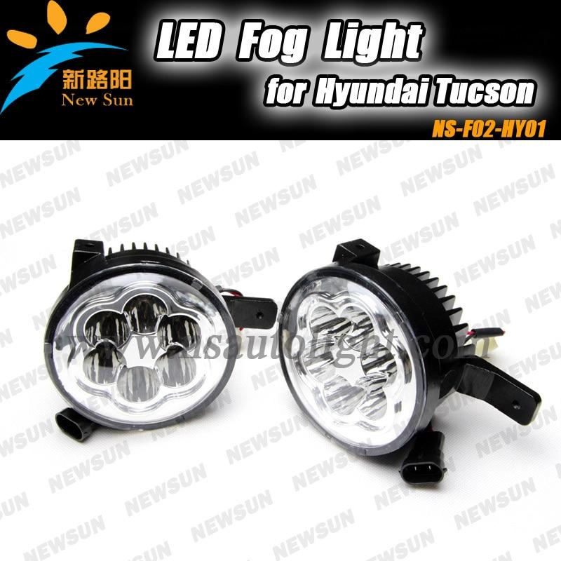 2pcs fog light auto car led fog lamp for Hyundai Tucson 23cm*15cm*12cm round led fog light replacement with original connector for hyundai tucson 2004 2008 led head lamp