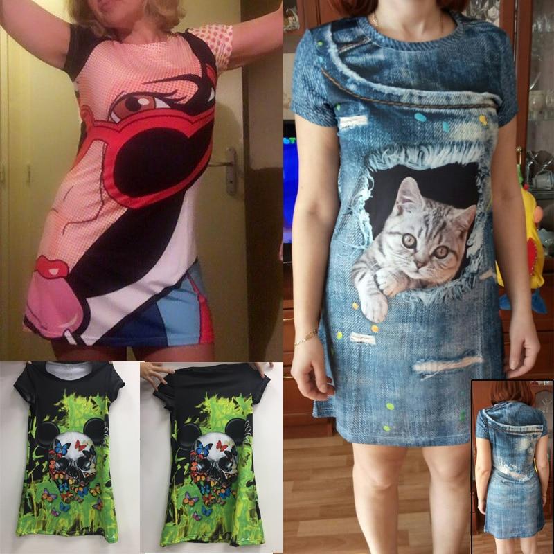 FORUDESIGNS 3d Tierkatze drucken Frauenkleider, lustige Mode Kurzarm - Damenbekleidung - Foto 6