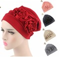 New women Slouchy wrinkle Cap double flower floral cotton Hats for Cancer Chemo Patients