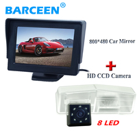 waterproof ip 69K car reversing camera ccd image 8 led +4.3 car screen monitor car lcd display 800*480 suitable for Toyota RAV4