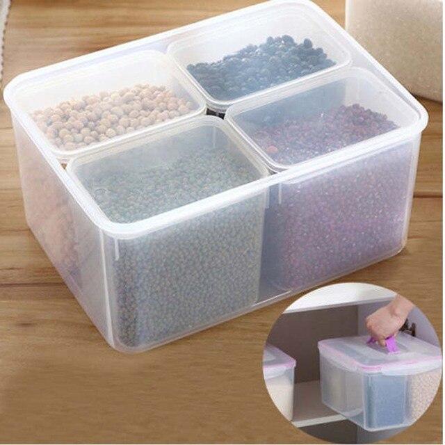 4 Grid Food Storage Box Case 8L Large Capacity Rice Grain Kitchen Storage  Container