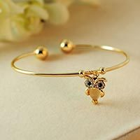 Animal  Bracelet – 2015 HOT FASHION CUTE OWL OPAL CRYSTAL BANGLE BRACELET JEWELRY#1769430
