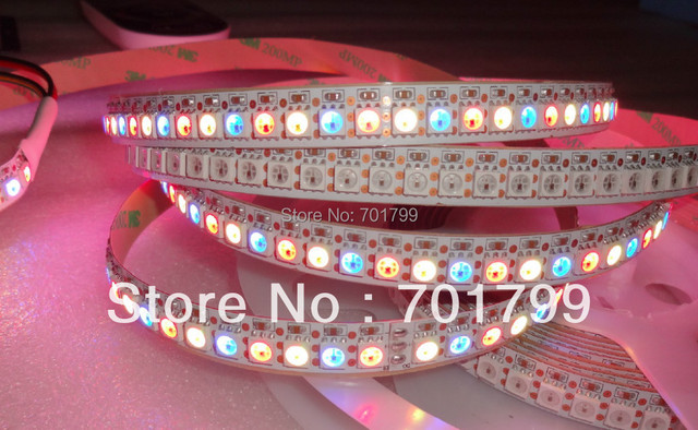 144leds/m WS2812B(5050 rgb led with WS2811 IC built-in) led pixel strip,DC5V,2m long,non-waterproof;white PCB