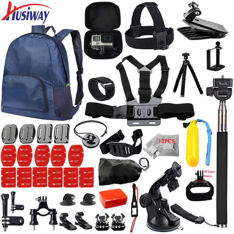 Husiway for Gopro accessories set for go pro hero 5 4 3 2 kit mount bag for SJ5000 SOOCOO Eken case xiaomi yi tripod 14I