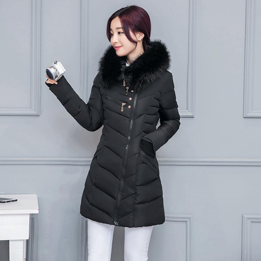 2017 Winter Jacket Women fashion hooded big fur collar down cotton Padded Coat Winter Slim Long Coat Three Colors Thick Parkas qazxsw 2017 new winter cotton coats women long parkas hooded jacket slim thick padded big fur collar casual winter jacket hb355