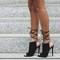 Hot Sales  2016 New SIZE 35-40 Summer Style Women Pumps 2017 Sexy Open toe Woman High Heels Shoes bandage Pumps Shoes
