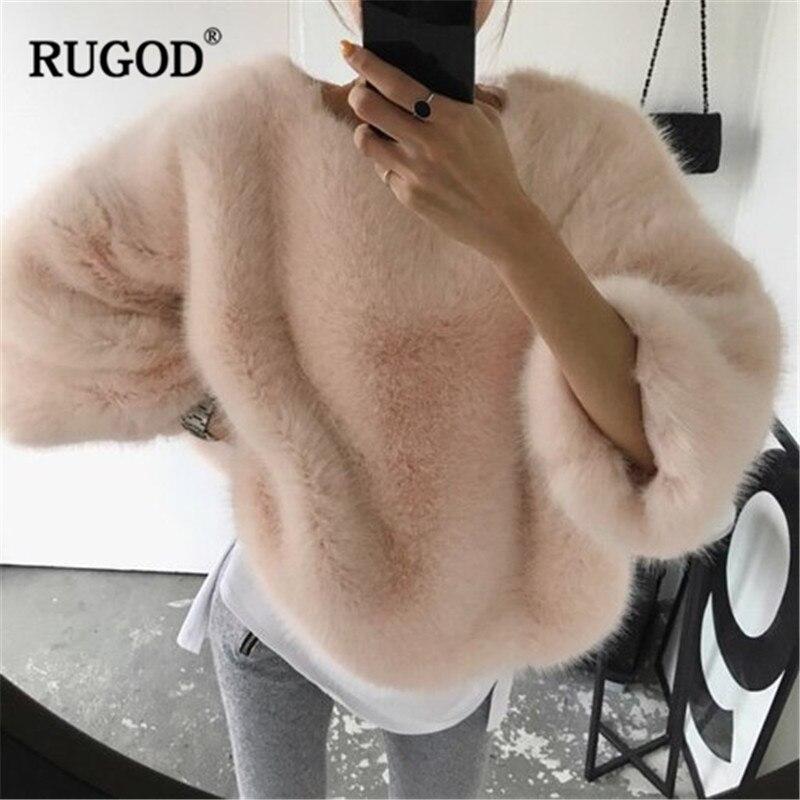 RUGOD solide mode femmes pulls lâche tricoté chaud hiver vêtements o-cou élégant femmes chandails sueter mujer invierno 2018