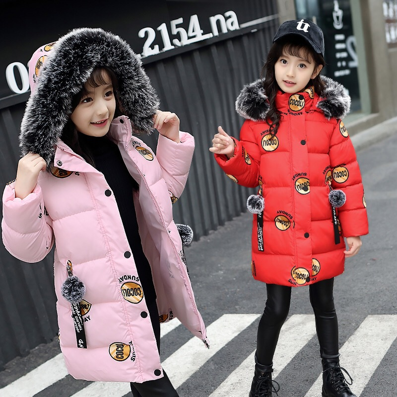 Fashion Girl Winter Coat Kids Warm Thick Fur Collar Hooded Long Cotton Coats Children Warm Jacket Teenage Girls Jackets teenage girls winter fleece long coats and jackets kids double breasted warm padded cotton solid jacket girl children clothing