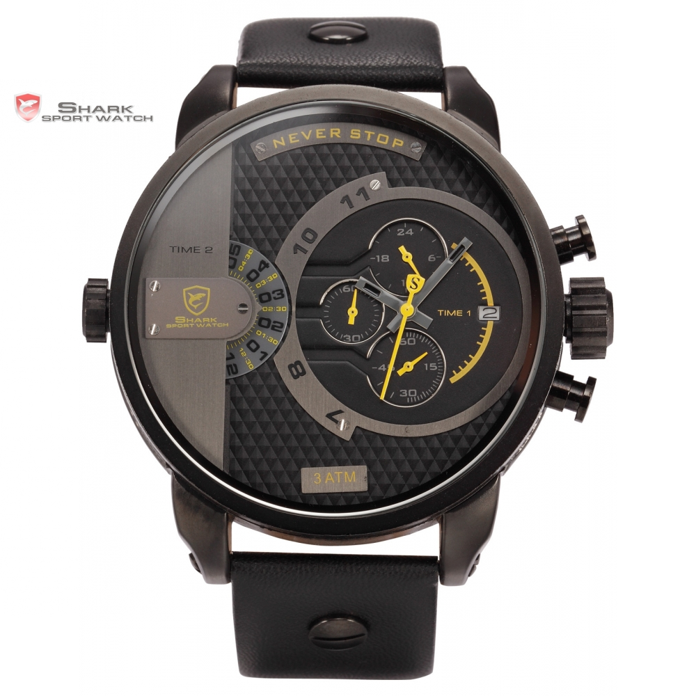 Prix pour Boîte en cuir de luxe baleine shark sport montre jaune chronomètre dual time bande wrap grand militaire des hommes bracelet de mode cadeau/sh159