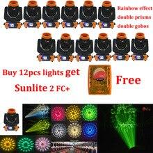 Купить 12 шт. получить Sunlite 2 FC+ 7R Шарпи 3в1 230 Вт движущаяся головка луч светильник Радуга 7 шт. вращающееся Стекло гобо DJ сценический светильник ing