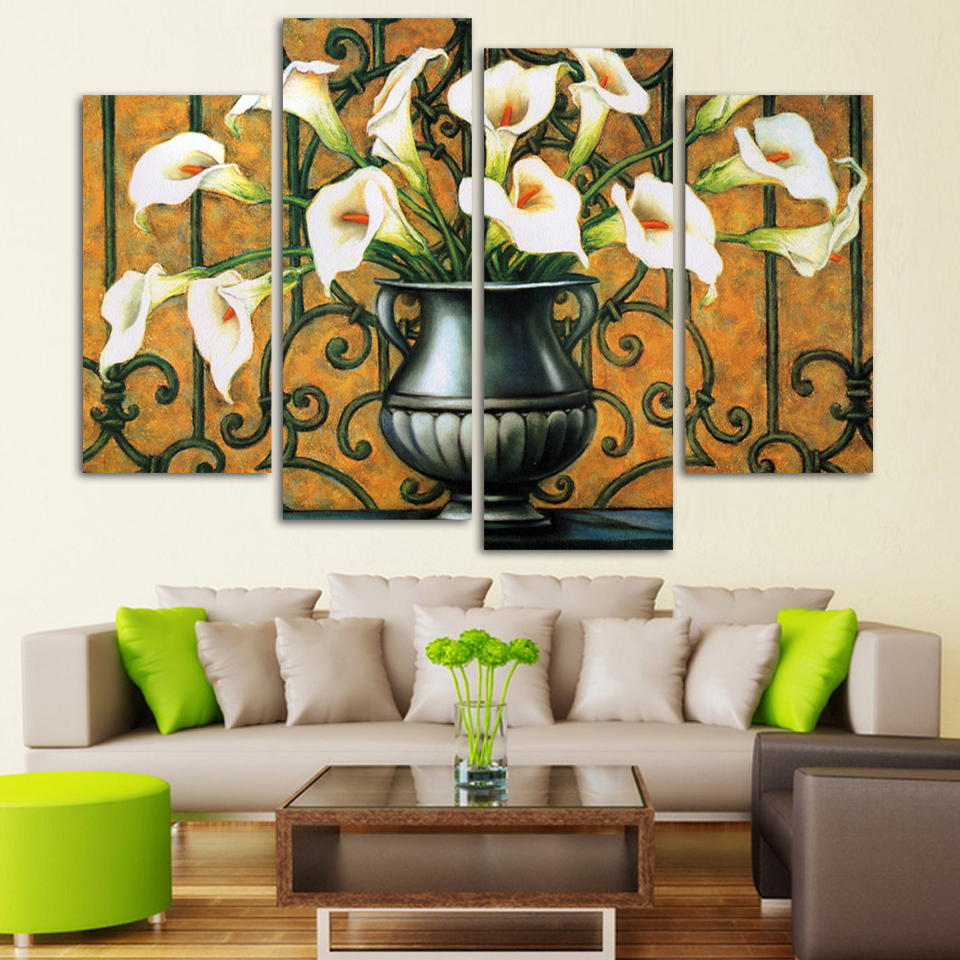 Paintings For Living Room Walls Popular White Lily Canvas Buy Cheap White Lily Canvas Lots From