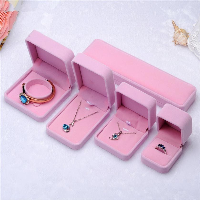 1Pcs Pink Jewellery Case Earrings Necklace Bracelets Display Box Velvet Gift Boxes Amazing