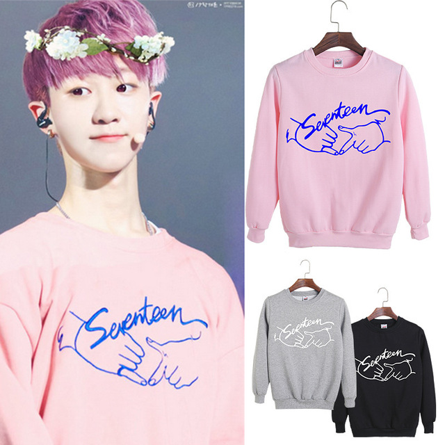 2017 spring kpop seventeen concert same printing o-neck sweatshirt for fans fashion pullover seventeen moletom thin hoodie