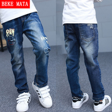 BEKE MATA Denim Jeans For Boys Spring 2016 Broken Hole Kids Boys Jeans Pants Elastic Waist Children's Jeans Long Boy Trousers