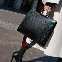 Nova bolsa feminina bolsas de couro para as mulheres sacos de designer bolsas de luxo crocodilo senhora sacos de mão bolsa feminina