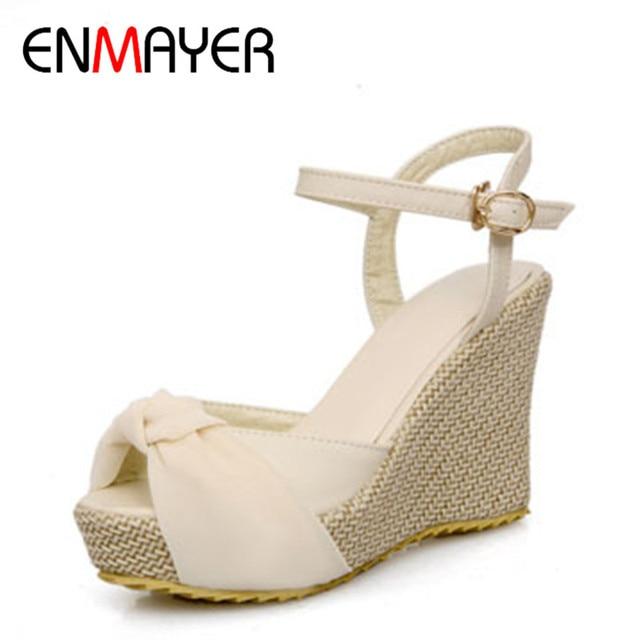 ENMAYER Open Toe Gladiator T straps Bohemia Platform Sandals Fashion Women High Heel Summer Shoes Brand New Sandals