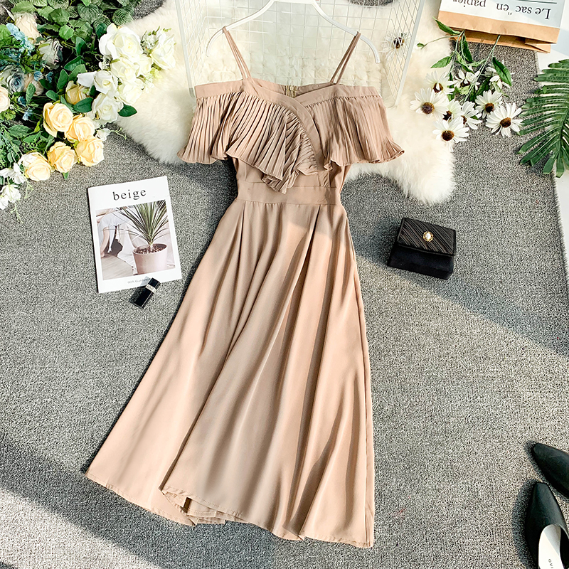 Neploe Sweet Spaghetti Strap Women Dress 2019 Solid Slash Neck Short Sleeve Vestido England Style Chiffon A-Line Robe 43088 11
