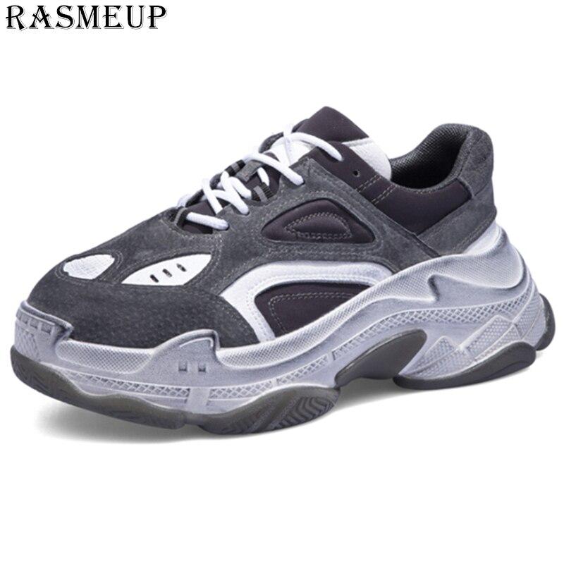 RASMEUP Echtem Leder Retro Schmutzig frauen Chunky Sneaker 2018 Mode Vintage Plattform Frauen Dad Turnschuhe Dicke Sohle Schuhe