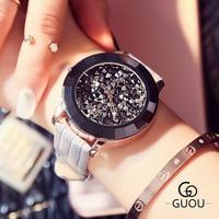 Bayan Kol Saati Watch Ladies Luxury Rhinestone Leather Strap Evening Party Quartz Watch Large Dial Relogios Femininos De Pulso
