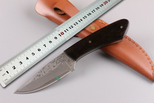 Newest Small Damascus Hunting Knife Collect Fixed Blade Knife Ebony Handle Camping Utility Knives Survival Tools