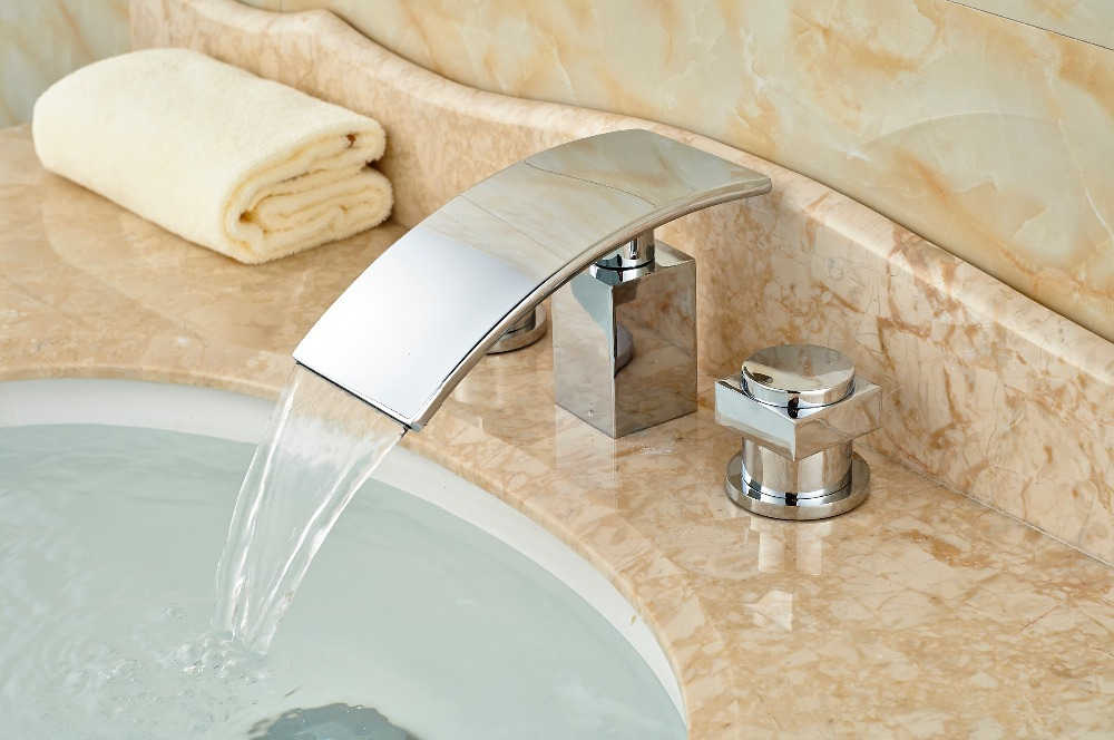 ФОТО Polished Chrome Brass Bathroom Basin Faucet Double Handles Face Mixer Tap 3 Hole