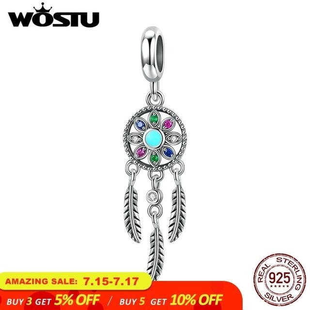 WOSTU 2019 100% 925 Sterling Silver Beautiful Dream Catcher Dangle Charms Fit Bracelet & Necklace Pendant Fashion Jewelry CQC961