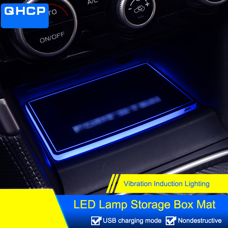 QHCP Acrylic LED Lamp Water Cup Holder Mat Storage Box Mat Interior Decoration Car Styling Accessories