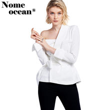 Asymmetric Collar Women Shirts Belted Waist Slim Suit Blouses 2018 Summer Long Sleeve Blouse Blazer OL Shirt White M17101802(China)