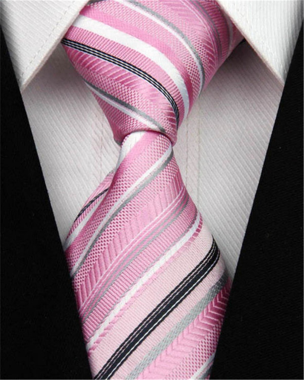 NT0043 Pink White Black Multi Color Stripe Jacquard Woven Classic type Silk Polyester Man's Business Tie Casual Necktie - Jo's Shop store