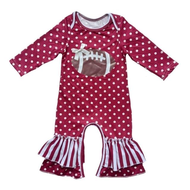8ef2975849f3 Wholesale New Arrival vinyl heated Football season Newborn Polka  Dots strips baby Rompers long sleeve ruffle pants girls romper