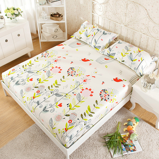 100% Cotton Bedspread Modern Bedroom Bed Sheets Colorful Flowers Pattern  Fitted Sheet Comfortable Sleep Mattress