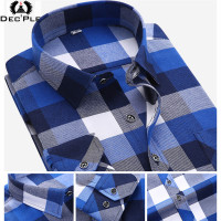 2015 Fashion Long Plaid Shirt Men Long Sleeve Plaid Striped Casual Shirt Cotton Flannel Shirt Male