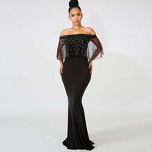 Glamorous Mermaid supersize evening dress Elegant Net yarn Nail bead gown Prom Large size Party Dresses formal