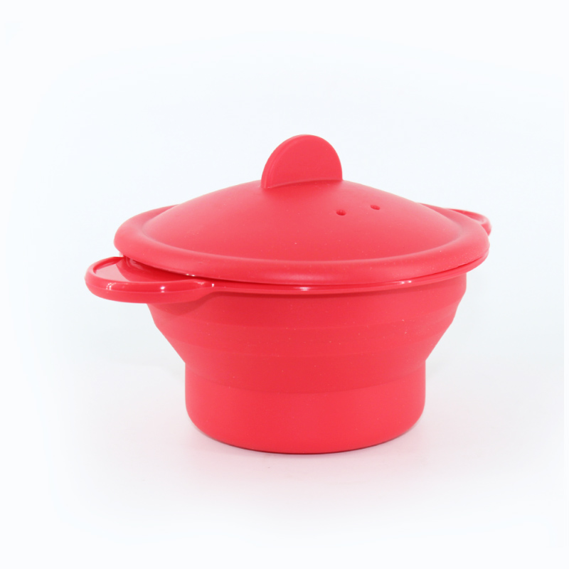 Multifunctional Red Silicone Steamer With Vent Steam Cover Microwave Heating Bowl Two Handles Practical Household Kitchenware