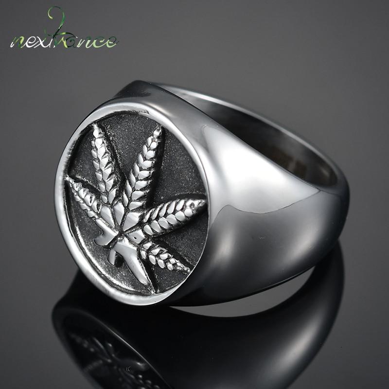 Stainless Steel Matte Finished 2 Color Maple// Marijuana Ganja Leaf Flat Band Ring