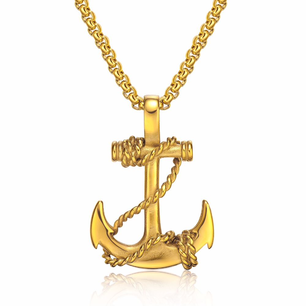 Online shop golden anchor pendant necklace man black christian online shop golden anchor pendant necklace man black christian cross pendant necklaces for men neckless women jewelry 55cm figaro chain aliexpress mobile aloadofball Choice Image