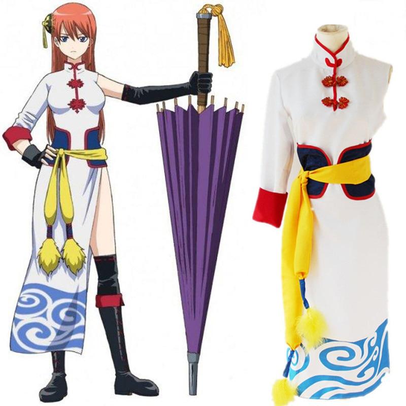 GINTAMA Cosplay Costume Kagura Cosplay Costumes White Cheongsam Anime Cosplay Costumes Halloween Carnival Party Cosplay Costumes